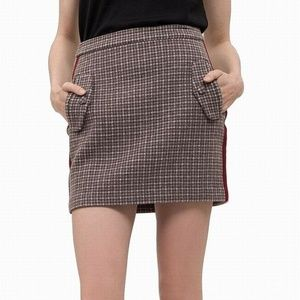 J.O.A. BROWN HOUNDSTOOTH KNIT MINI SKIRT M